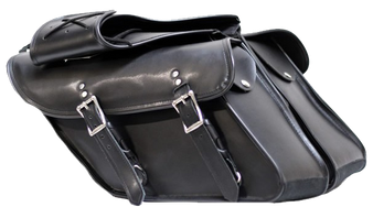 Black PVC Motorcycle Saddlebags For Harley Davidson Dyna - SKU SD4088-DYNA-PV-DL