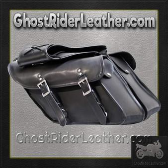 Black PVC Motorcycle Saddlebags For Harley Davidson Dyna - SKU GRL-SD4088-DYNA-PV-DL