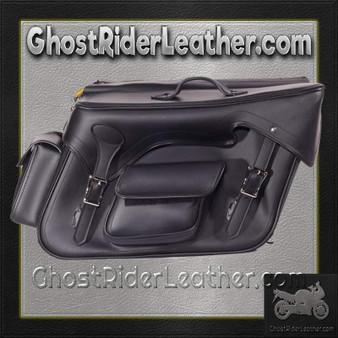 Black PVC Motorcycle Slanted Saddlebags with Pockets - SKU GRL-SD4085-NS-PV-DL