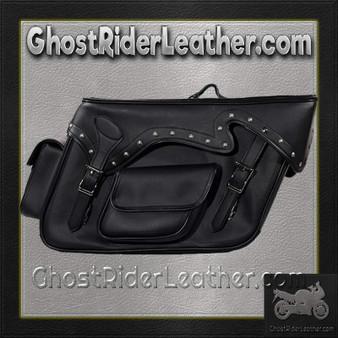 Black PVC Motorcycle Slanted Saddlebags with Studs and Pockets - SKU GRL-SD4085-PV-DL