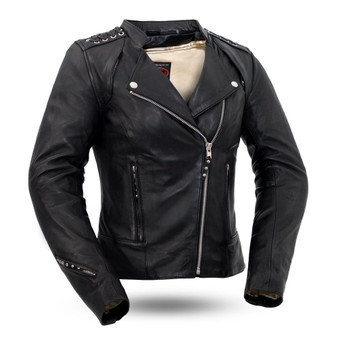Black Widow - Women's Leather Motorcycle Riding Jacket With Lace Detail - FIL191SDMZ-FM