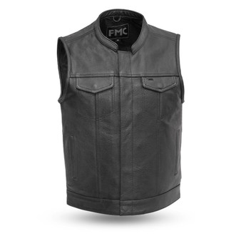 Blaster - Men's Motorcycle Leather Vest - Sizes Up To 8XL - SKU FMM690BSF-FM