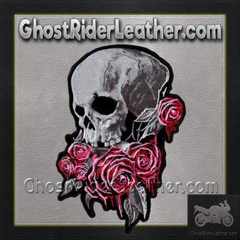 Bleeding Rose Skull Vest Patch - SKU GRL-PPA8310-HI