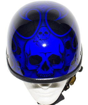 Blue Burning Skull Novelty Motorcycle Helmet - SKU GRL-H401-D4-BLUE-DL