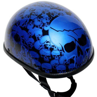 Blue Eagle Style Boneyard Novelty Motorcycle Helmet - SKU GRL-H6401-BLUE-DL