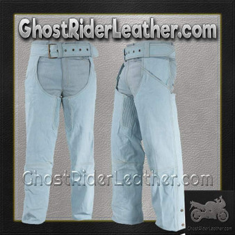 Mens Leather Assless Chaps - Motorcycle Chaps - Biker