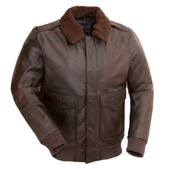 Bomber - Men's Leather Bomber Jacket with Faux Shearling Collar - SKU GRL-FMM219BP-FM
