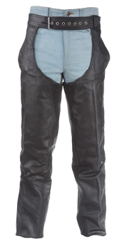 Braided Premium Leather Chaps With Thigh Stretch for Men or Women - C336-01-DL