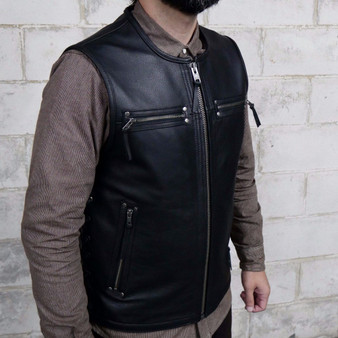 Brawler Men's Leather Motorcycle Vest - FIM648CSL-FM