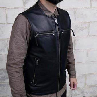 Brawler Men's Leather Motorcycle Vest - FIM648CSL-FM