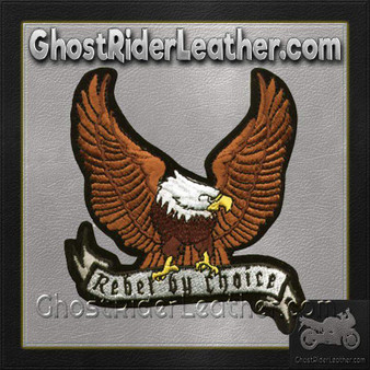 Brown Eagle with Rebel By Choice Banner Patch / SKU GRL-PAT-A28-DL