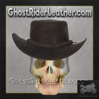 Brown Leather Gambler Hat / SKU GRL-HAT11-11-DL