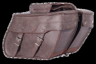 Brown PVC Motorcycle Slanted Saddlebags - SKU SD4082-BROWN-PV-DL