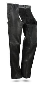 Bully Mens Premium Platinum Leather Motorcycle Chaps - SKU GRL-FIM841CPM-FM
