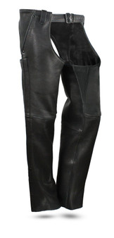 Bully Mens Premium Platinum Leather Motorcycle Chaps - SKU GRL-FIM841CPM-FM