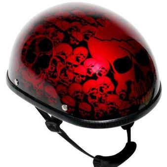 Burgundy Eagle Style Boneyard Novelty Motorcycle Helmet - SKU GRL-H6401-BURG-DL