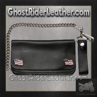 Chain Wallet with USA Flag Emblems - SKU GRL-WALLET5-DL