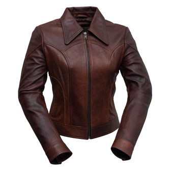 Charlotte - Women's Leather Motorcycle Jacket in Red Ford Color - WBL1382-WB