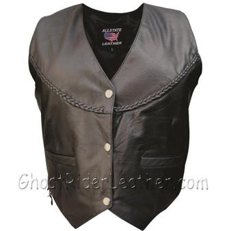 Classic Style Ladies Leather Vest with Braid Trim - SKU GRL-AL2302-AL