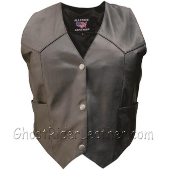 Classic Style Ladies Leather Vest with Snap Front Closure - SKU GRL-AL2300-AL