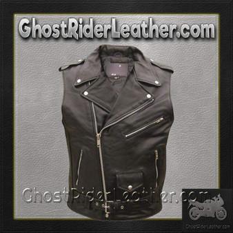 Classic Style Sleeveless Motorcycle Jacket - SKU GRL-AL2012-AL