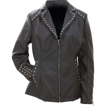 CLOSEOUT! Ladies Faux Leather Jacket with Studs - SKU GFJPS-BN