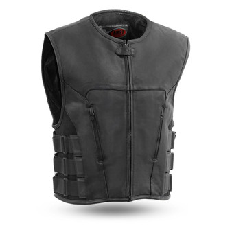 Commando - Men's Swat Style Leather Club Vest - Sizes Up To 8XL - SKU FIM645CSL-FM