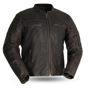 Commuter - Men's Brown Leather Motorcycle Jacket - SKU FIM277CVZ-FM