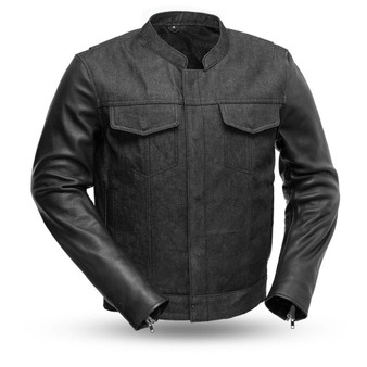 Cutlass Denim and Leather Motorcycle Jacket - SKU GRL-FIM266DML-FM