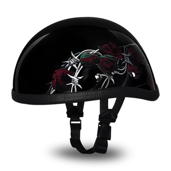 Daytona Eagle With Barbed Roses - Novelty Motorcycle Helmet - SKU 6002BRO-DH