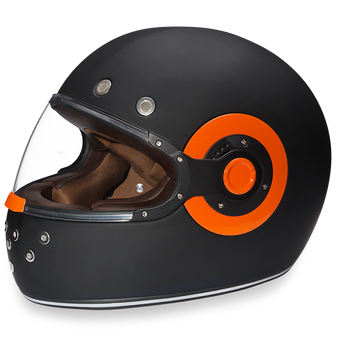 Daytona Retro Dull Black With Orange Accents - Full Face Motorcycle Helmet - SKU GRL-R1-O-DH
