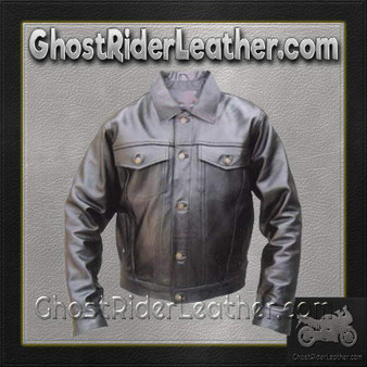 Denim Style Leather Biker Jacket  / SKU GRL-AL2013-AL