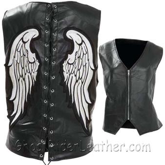 Diamond Plate Ladies Rock Design Genuine Leather Angel Wing Vest - SKU GRL-GFVLAW-BF