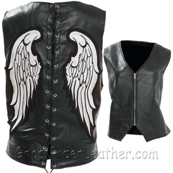 Diamond Plate Ladies Rock Design Genuine Leather Angel Wing Vest - SKU GFVLAW-BF