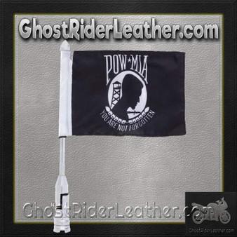 Diamond Plate Motorcycle Flagpole Mount with POW MIA Flag / SKU GRL-BKFLAGPM-BN