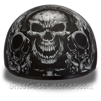 DOT Approved Motorcycle Helmet With Skull and Smoking Guns - SKU GRL-D6-G-DH