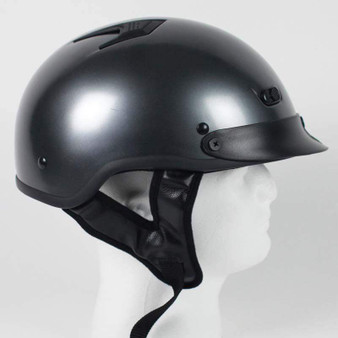 DOT Black Chrome Motorcycle Shorty Helmet - SKU GRL-1GM-HI