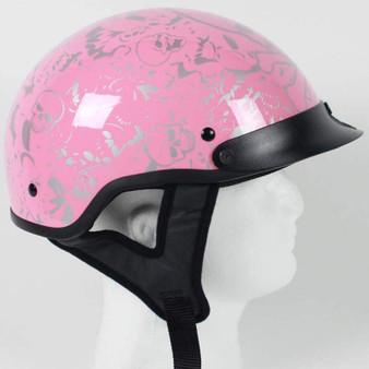 DOT Chrome and Powder Pink Boneyard Motorcycle Shorty Helmet - SKU GRL-1VBYP-HI