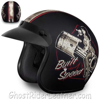 DOT Daytona Cruiser Built For Speed Open Face Motorcycle Helmet - SKU GRL-DC6-BFS-DH