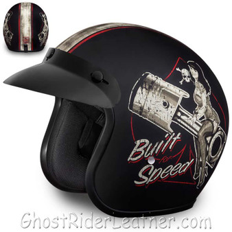 DOT Daytona Cruiser Built For Speed Open Face Motorcycle Helmet - SKU GRL-DC6-BFS-DH