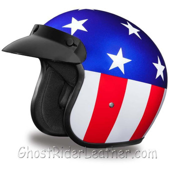 DOT Daytona Cruiser Captain America Open Face Motorcycle Helmet - SKU GRL-DC6-CA-DH