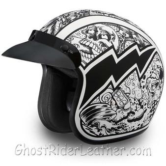 DOT Daytona Cruiser Graffiti Design Open Face Motorcycle Helmet - SKU GRL-DC6-G-DH