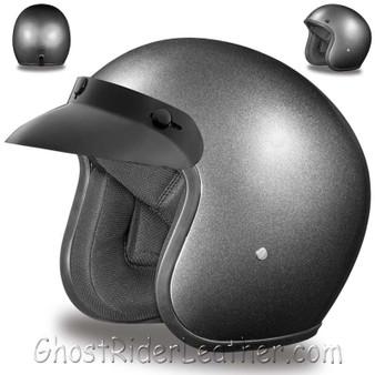 DOT Daytona Cruiser Gun Metal Metallic Open Face Motorcycle Helmet - SKU GRL-DC1-GM-DH
