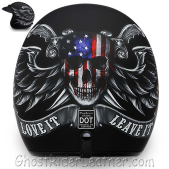 DOT Daytona Cruiser Love It Or Leave It Open Face Motorcycle Helmet - SKU GRL-DC6-L-DH