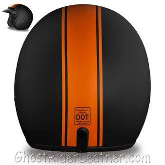 DOT Daytona Cruiser Orange Stripe Open Face Motorcycle Helmet - SKU GRL-DC6-O-DH