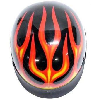 DOT Flames On Gloss Black Motorcycle Helmet - SKU GRL-200-FLAME-DL