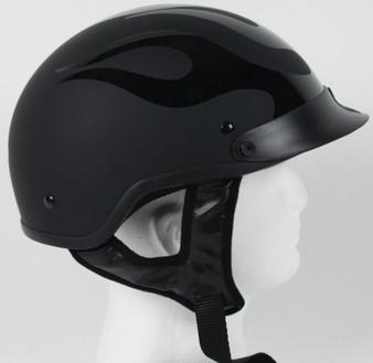 DOT Flat Black Flames Motorcycle Shorty Helmet - SKU GRL-1FBF-HI