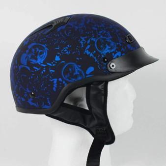 DOT Flat Blue Boneyard Motorcycle Shorty Helmet - SKU GRL-1FBYB-HI