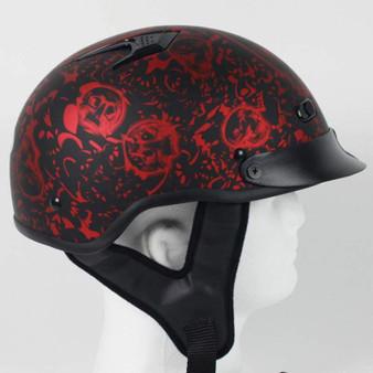 DOT Flat Red Boneyard Motorcycle Shorty Helmet - SKU GRL-1FBYR-HI