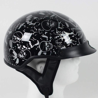 DOT Gloss Black Boneyard Motorcycle Shorty Helmet - SKU GRL-1VBYB-HI